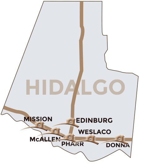 Hidalgo County map highlighting main cities in the south